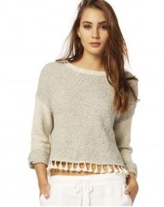 Terry 3/4 Sleeve Pullover with Fringe #michaelstars #shopsmall #summer #summerfashion #croptop #thepinkchalet