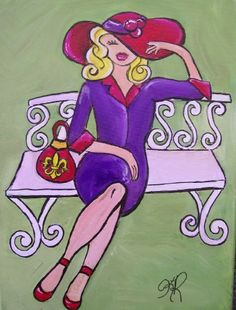 Red Hat in the Park - Sip and Paint (different color hat/grass; straighten the bench; different purse). Red Purple, Red And Pink, Red Hat Club, Jenny Joseph, Red Hat Ladies, Chicken Painting, Wearing Purple, Red Hat Society, Paint And Sip