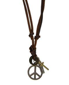 Colar unissex de couro marrom símbolo paz prateado Rustic