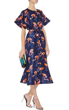Flamingo Printed Silk Organza Dress by DELPOZO - Moda Operandi