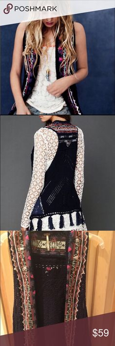 Free People Navy Vest XS This piece is perfect for layering! Wear it with a white dress during summer or leather pants during winter. Free People Tops