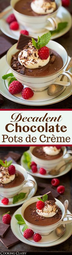 Chocolate Pots de Creme - a MUST TRY dessert!! Everyone was raving about these! So decadent and perfectly chocolatey.