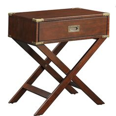 OVERSTOCK NEO ESPRESSO BOX ACCENT TABLE WITH X LEG -- $155