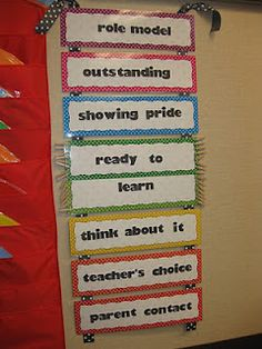 """Loving this idea for a behavior board. I like that kids can move really high to show outstanding, good, hardworking kids that they are noticed,along with the kids who need the reminders to change their day around. Pretty cute idea. Kids can get certificates for being a """"role model"""" during the day :)"""