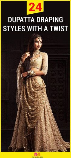 24 Dupatta Draping Styles With A Twist is part of Indian bridal dress - Bored by the same conventional styles of draping your dupatta, for parties and occasions Want to shine bright in your Indian attire but not sure Lehenga Chunni, Lehenga Choli Wedding, Bridal Dupatta, Lehenga Style, Wedding Lehanga, Lehnga Dress, Wedding Dress, Saree Draping Styles, Drape Sarees
