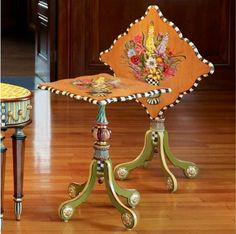 Adorn your space with MacKenzie-Childs Blooming Tip Top Table. A work of art from the artisans in Aurora, NY featuring a hand-painted floral Whimsical Painted Furniture, Painted Chairs, Hand Painted Furniture, Funky Furniture, Paint Furniture, Unique Furniture, Furniture Makeover, Furniture Decor, Furniture Stores
