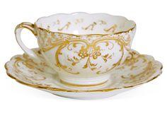 One Kings Lane - Jane Mayle - White Gold Teacup & Saucer