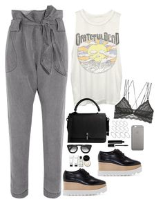 """Gigi Hadid Inspired Band Tee Look"" by samikayy76 ❤ liked on Polyvore featuring Vivienne Westwood Anglomania, Junk Food Clothing, Cosabella, STELLA McCARTNEY, Carven, Prada, ASOS, Bobbi Brown Cosmetics, Native Union and Marc Jacobs"