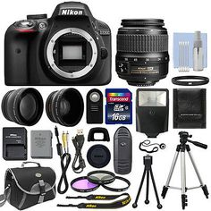 Nikon D3300 Digital SLR Camera Body + 3 Lens Kit 18-55mm VR Lens + 16GB Bundle