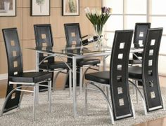 """7pc Dining Set with Glass Top Metal legs Matte Silver Finish Black by Coaster Home Furnishings. $474.71. Dining and Kitchen. 7pc Dining Set with Glass Top in Matte Silver Finish. Dining and Kitchen->Dining Room Sets->Metal and Wood Dining. Some assembly may be required. Please see product details.. You will receive a total of 1 dining table and 6 chairs.Table: 35 1/2""""W x 59""""D x 30""""H.Chairs: 16""""W x 20 1/2""""D x 41""""H.Seat Depth: 16"""".Finish: Matte Silver, Black.Material: Metal,Glas..."""