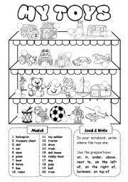 English worksheet: My toys (1) - writing activity