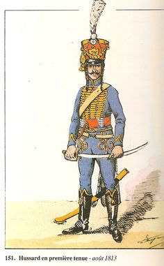 Westphalia; Hussars of Jerome Napoleon. In initial uniform, August 1813. Raised on 30/07/13 from detachments from French cavalry regiments, the unit had a short life in the Westphalian army. On 30/0913 the Kingdom of Westphalia ceased to exist. On 01/01/14 the regiment was reabsorbed into te French line as the 13th Hussars