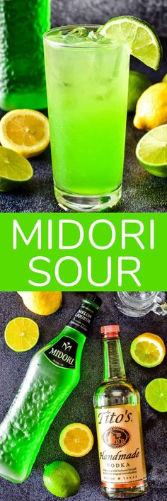 If you love sweet, fruity cocktails... this Midori Sour is for you! Made with Midori liqueur, vodka, fresh citrus, and a splash of seltzer, it's a simple, delicious drink that's sure to hit the spot! Fruity Cocktails, Summer Cocktails, Refreshing Drinks, Cocktail Drinks, Fun Drinks, Yummy Drinks, Cocktail Recipes, Mixed Drinks, Recipes Dinner