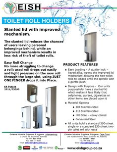 Place your order with the following Extreme Industrial Suppliers and Hygiene branches: EISH CPT: 021 557-6302 eishct@imaginet.co.za EISH JHB & KZN: 011 823-6476 eishorders@imaginet.co.za #ToiletRollHolder #WashRoom #Toiletpaper #EISH Easy Rolls, Toilet Roll Holder, Washroom, Branches, Industrial, Products, Laundry Room, Industrial Music, Eggplant