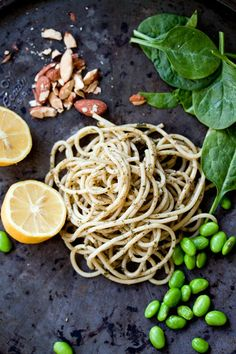 Recipe: Lemony Pesto Pasta with Edamame & Almonds Six Ingredients (and Salt) | The Kitchn
