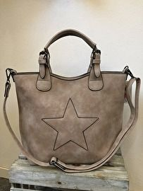 Hand / schoudertas bag in bag taupe