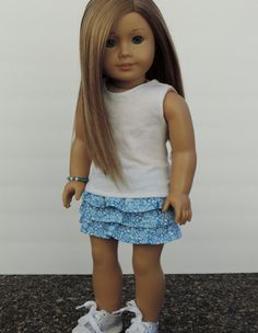 Blue Floral Ruffle Skirt American Girl Doll by HerDollEssentials
