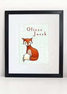 Fox Illustration Print 8x10  Woodland Nursery Art by PebblesPrints, $20.00