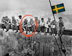 """Pretty cool - after 80 YEARS they've finally found out that the two guys seated in the middle of the epic snapshot """"Lunch atop a Skyscraper"""", are Swedish! At least that is what this newspaper claims: http://j.mp/ZvEpRL"""