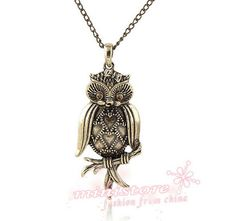 1pcs antiqued brass owl necklace  WU236 by ministore on Etsy, $3.30