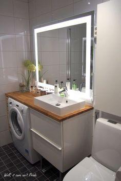 Bathroom Ideas Ikea Mirror New Ideas For Bathroom Mirror Ikea Ideas bat… Bathroom Design Small, Bathroom Interior Design, Modern Bathroom, Kitchen Design, Laundry Room Bathroom, Master Bathroom, Mirror Bathroom, Serene Bathroom, Bathroom Toilets