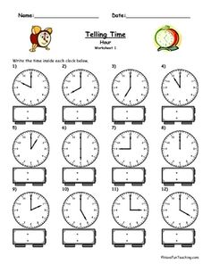 Telling Time Clock Worksheet - To The Hour