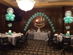 Floating cloud centerpieces and a Tiffany pearl arch! Balloon Centerpieces, Breakfast At Tiffanys, Baby Shower Balloons, Tiffany And Co, Bridal Shower, Table Decorations, Cloud, Arch, Pearl