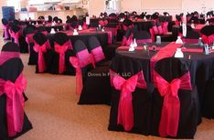 LOVE it!!! According to people at a wedding I went to recently, to wrap chair like that costs $4 a chair. I love the pink and black!!