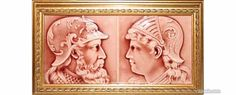 American Encaustic Tiling Company Tile, Pattern or Item: Warrior Profile,Rose,Frame, Description: 6 x 6 In.