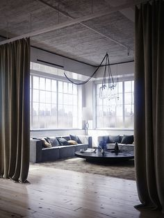 curtains as space dividers- maybe in white?would make everything appear simpler and more modern