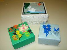 """spazio alla mia fantasia: le mie scatoline con tecnica""""Origami""""decorate""""Quil..."""