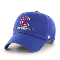 - 100% Cotton - Chicago Cubs 2015 Postseason Playoff Hat - Raised embroidered Cubs team logo at front - Adjustable buckle back - Officially Licensed by Major League Baseball - By '47 Brand