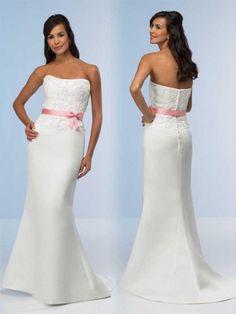 Sheath / Column Strapless Lace Sleeveless Floor-length Satin Bridesmaid Dresses / Prom Dresses / Evening Dresses