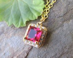 AFFY Simulated Ruby /& White Cubic Zirconia Teardrop Pendant Necklace in Yellow Gold Over Brass 1 Cttw