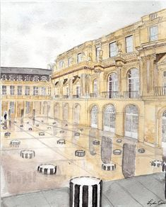Palais Royale courtyard watercolor painting   The Illustrated Life 2017 Spring Collection by Lydia Carns   8x10 digital download illustration   Paris landmark, Palais Royale, Paris, travel, wanderlust, chic, black and white columns, rainy day, explore