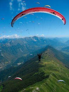 Paraglider Above Mountain Stol, Kobarid, Slovenia... Like birds in the sky