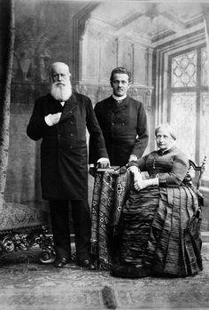 Prince Peter of Saxe-Coburg (1866-1934) with his grandparents, Emperor Pedro II and Empress Teresa Cristina of Brazil, 1887
