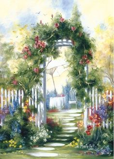 Marty Bell Fine Art: Rediscover the Romance Small Paintings, Beautiful Paintings, Colorful Paintings, Decoupage, Bell Art, Cottage Art, Painted Cottage, Art Themes, Arte Floral