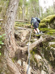 Climbing the rope - want to do this trail this summer for sure! Hiking Routes, Great Photos, Climbing, Trail, Summer, Summer Time, Rock Climbing, Hiking, Verano