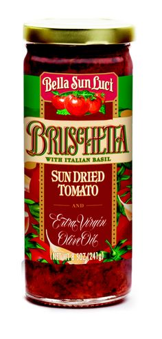 Bella Sun Luci Bruschetta with Italian Basil, Sun Dried Tomato and Extra Virgin Olive Oil