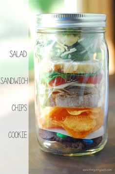 Mason Jar Meal with a salad, sandwich, chips and a cookie!