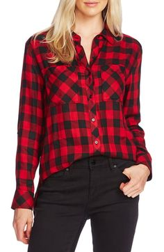 Vince Camuto Buffalo Plaid Button-up Shirt In Tulip Red Plaid Shirt Outfits, Tartan Shirt, Plaid Shirts, Plaid Pants, Red Shirt, Camisa Boyfriend, Boyfriend Shirt, Buffalo Plaid Shirt, Shirt Style