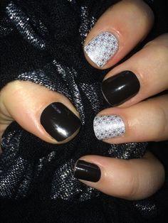 Jamberry nails manicure cute black white silver metallic jamicure black