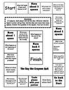 "This game board features comprehension questions and vocabulary from the story ""The Day the Crayons Quit"" The kids love to play these board games! It is perfect for early finishers, reading centers, or when you just have an extra few minutes. I have several more to go with other stories in Journey's."