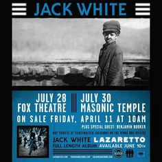 If you're in Michigan, get tickets! Both venues are amazing vintage theatres.  Jack will kill.