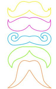 FREE downloadable photo booth prop templates from LittleRayovSun.wordpress.com. Assorted mustaches, lips, pipes, hipster glasses and bowties