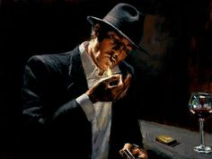 Man Lighting Cigarette by Fabian Perez, Price SOLD OUT