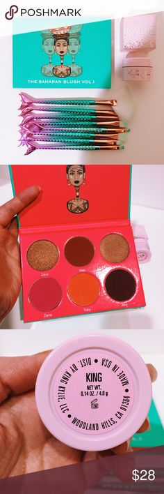 Juvia's Place & KYLIE bundle in this bundle, you'll be getting 1) Juvia's Place Saharan Blush Palette Vol 1(swatched one color.. see pics) orig price is $18 2) Kylie Cosmetics KING ultra glow highlighter (orig price $14) there's still 98% of product left.. I've been loving new highlighters lately so im moving on lol ... 3) 8 brand new mermaid makeup brushes Kylie Cosmetics Makeup