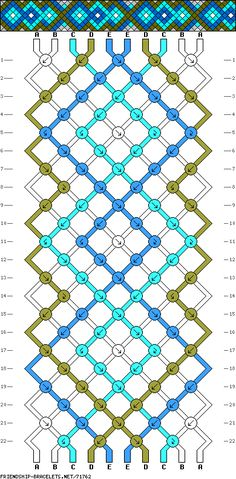 bracelet pattern  for this one, use the typical length for your wrist in white- for the green, blue and turquoise you'll need twice that much.