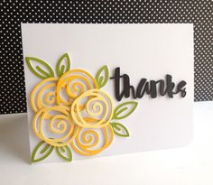 "handdmade thank you card ... Die cut paint chips (try with MB) ... one layer ... bold flower outines and a ""thanks"" ..."